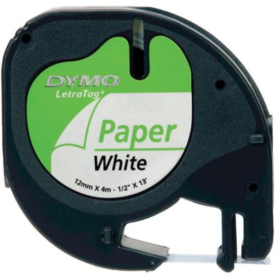 DYMO S0721510 Beyaz LetraTag Kağıt Şerit (12mm x 4mt)