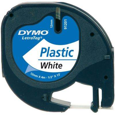 DYMO S0721610 Beyaz LetraTag Plastik Şerit (12mm x 4mt)