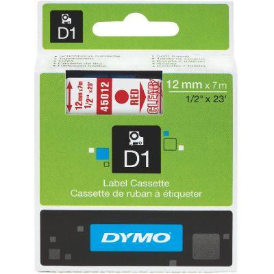 DYMO 45012 Şeffaf/Kırmızı D1 Yedek Şerit (12 mm x 7 mt)