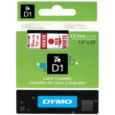 DYMO 45015 Beyaz/Kırmızı D1 Yedek Şerit (12 mm x 7 mt)