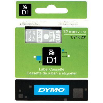 DYMO 45020 Şeffaf/Beyaz D1 Yedek Şerit (12 mm x 7 mt)