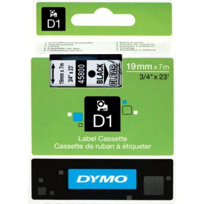 DYMO 45800 Şeffaf/Siyah D1 Yedek Şerit (19 mm x 7 mt)
