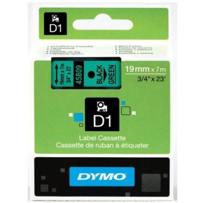 DYMO 45809 Yeşil/Siyah D1 Yedek Şerit (19 mm x 7 mt)