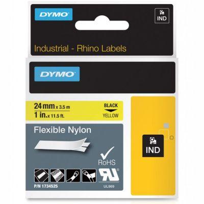DYMO RhinoPRO 1734525 Sarı/Siyah Esnek Naylon Şerit 24 mm x 3,5 mt