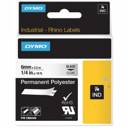 DYMO RhinoPRO 1805440 Şeffaf/Siyah Sabit Polyester Şerit 6 mm x 5,5 mt - Thumbnail