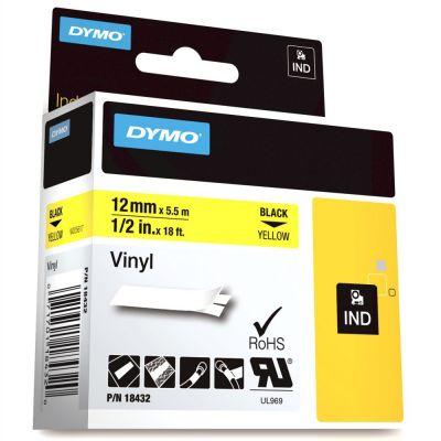 DYMO RhinoPRO 18432 Sarı/Siyah Renkli Vinil Şerit 12 mm x 5,5 mt