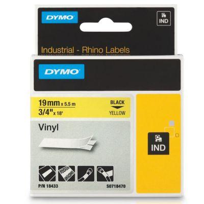 DYMO RhinoPRO 18433 Sarı/Siyah Renkli Vinil Şerit 19 mm x 5,5 mt