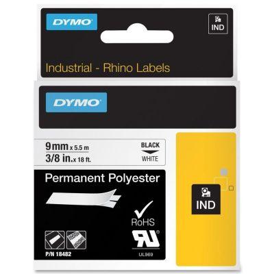 DYMO RhinoPRO 18482 Beyaz/Siyah Sabit Polyester Şerit 9 mm x 5,5 mt