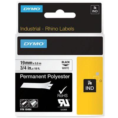 DYMO RhinoPRO 18484 Beyaz/Siyah Sabit Polyester Şerit 19 mm x 5,5 mt