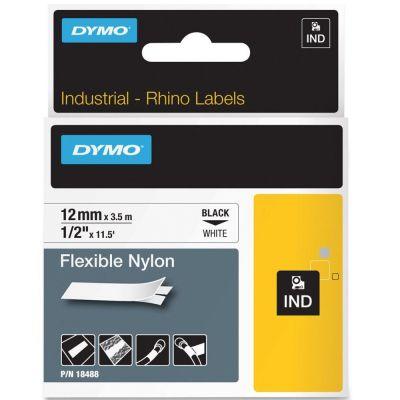 DYMO RhinoPRO 18488 Beyaz/Siyah Esnek Naylon Şerit 12 mm x 3,5 mt