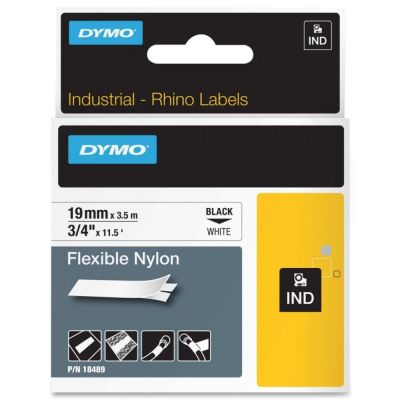 DYMO RhinoPRO 18489 Beyaz/Siyah Esnek Naylon Şerit 19 mm x 3,5 mt