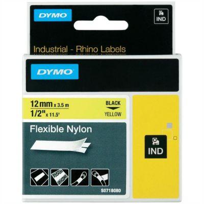 DYMO RhinoPRO 18490 Sarı/Siyah Esnek Naylon Şerit 12 mm x 3,5 mt
