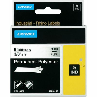 DYMO RhinoPRO 18508 Şeffaf/Siyah Sabit Polyester Şerit 9 mm x 5,5 mt