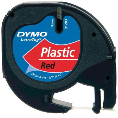 DYMO S0721630 Kırmızı LetraTag Plastik Şerit (12mm x 4mt)
