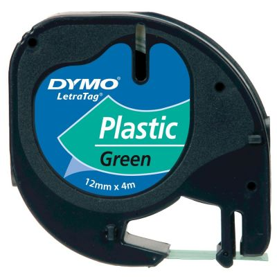 DYMO S0721640 Yeşil LetraTag Plastik Şerit (12mm x 4mt)