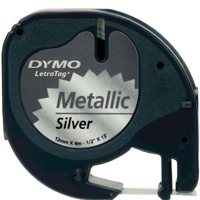 DYMO S0721730 Metalik Gri LetraTag Metalik Şerit (12mm x 4mt)