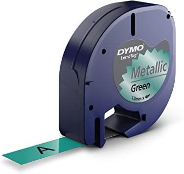 DYMO S0721740 Metalik Yeşil LetraTag Metalik Şerit (12mm x 4mt