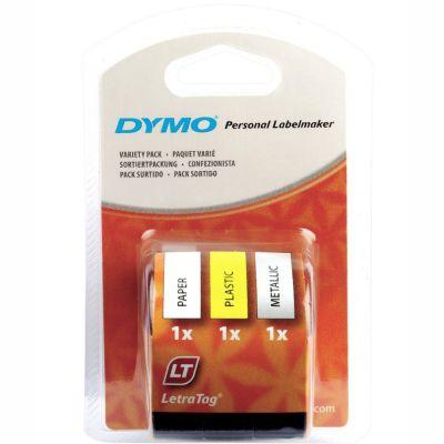 DYMO S0721790 LetraTag 3 lü Yedek Şerit (Beyaz Kağıt + Sarı Plastik + Metalik Gri)
