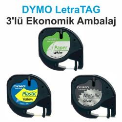 DYMO S0721790 LetraTag 3 lü Yedek Şerit (Beyaz Kağıt + Sarı Plastik + Metalik Gri) - Thumbnail