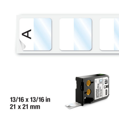 DYMO XTL 1868704 Lamineli Tel Kablo Etiketi 21x21mm Beyaz - Siyah (250 Adet)