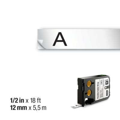 DYMO XTL 1868806 Esnek Kablo Etiketi 12mm x 5,5m Beyaz - Siyah